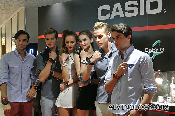 The models posing with their G-Shock and Baby-G watches