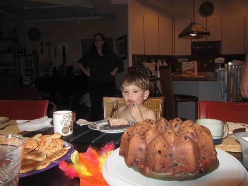 Satch having dessert