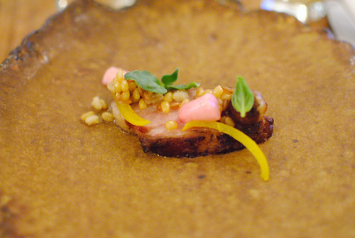 lamb neck, lime pickle, date, soft grains (Kostow)