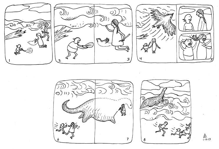 Aijung Kim's 8-panel wordless story, created during Joy