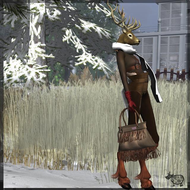 Lib Space Gauze faun shi glove turtle neck maitreya girdle and high waist pant ad deer head