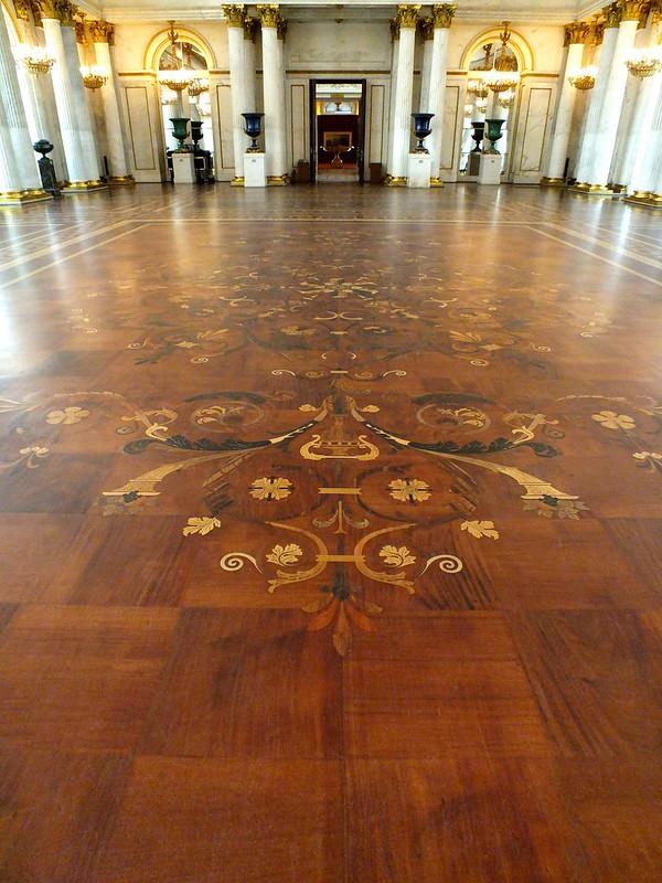 Parchetarie cu intarsie de mari dimeniuni - Sala tronului. Palatul de Iarna, Sankt Petersburg