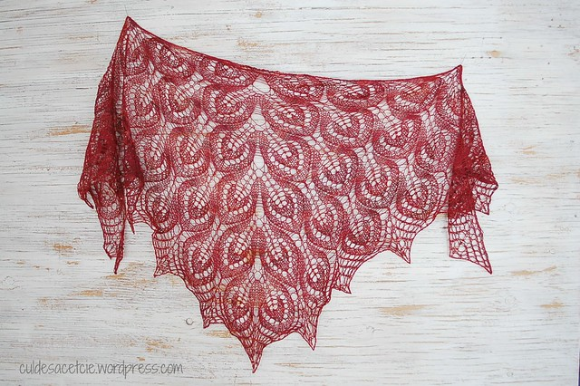 Wine and beads shawl