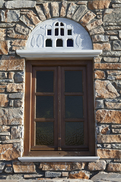 Ano Syros, Greece, Greek island, stone walls, window carvings