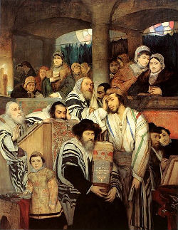 'Jews Praying in the Synagogue on Yom Kippur'' by Maurycy Gottlieb.