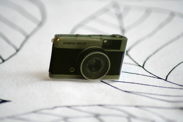 Handmade Plastic Olympus Trip Retro Camera Brooch