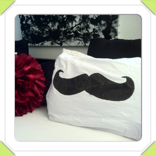 Pillow mustache final product