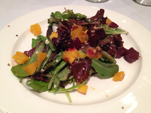 Salad with red and golden beets