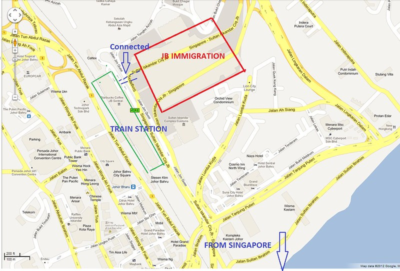 Map of JB Sentral, train station