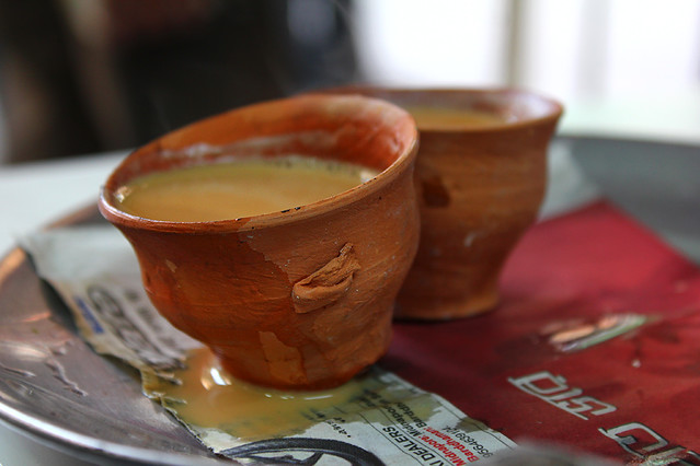 Chai tea serving in unfired clay cups - very eco-friendly