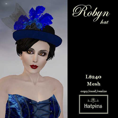Hatpins - Robyn Hat - Blue - New!