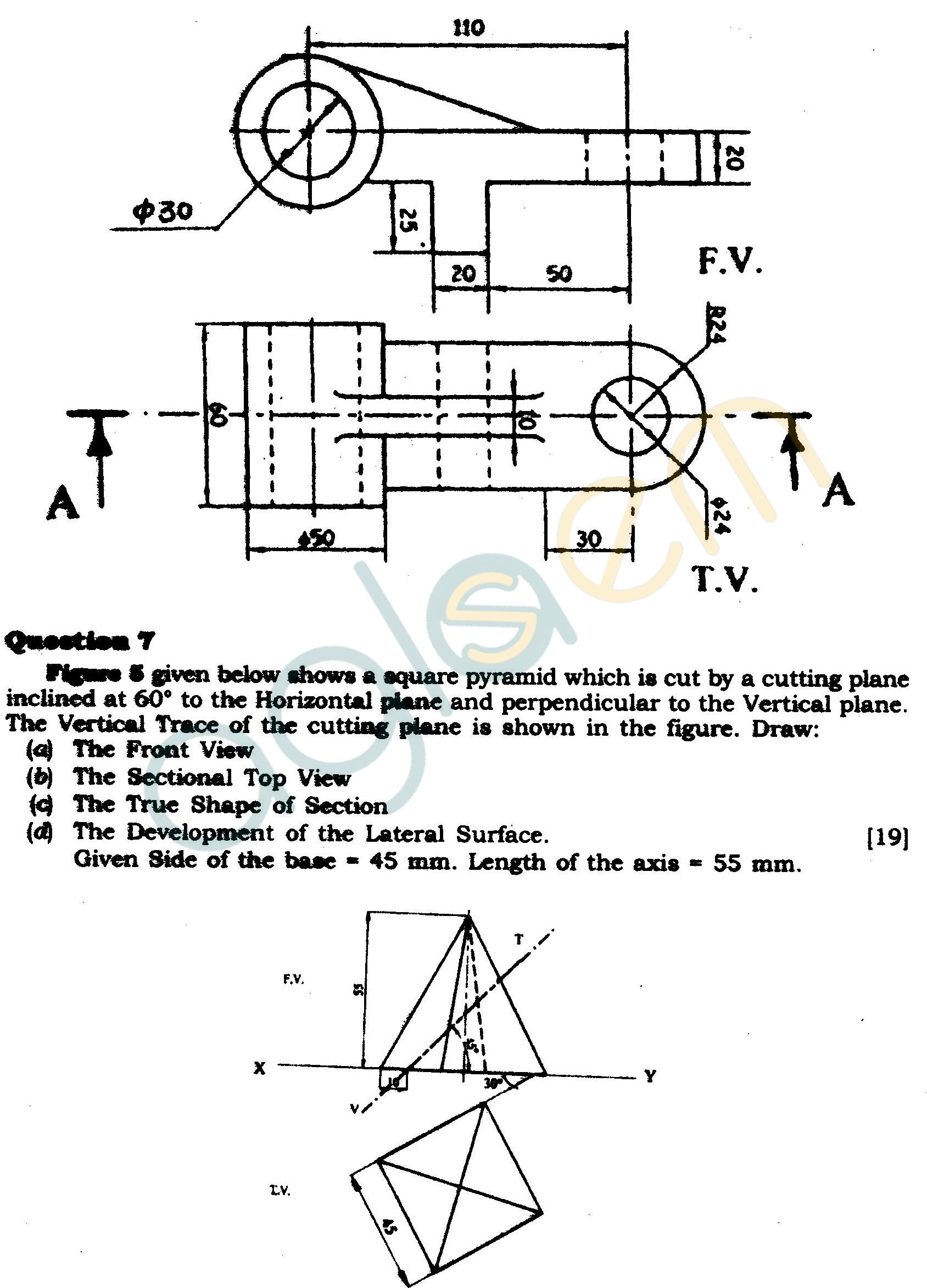 ICSE Class X Exam Question Papers 2012: Technical Drawing