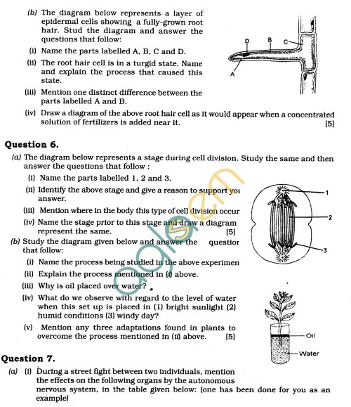 small resolution of ICSE Class X Exam Question Papers 2011: Biology (Science Paper-3)   AglaSem  Schools