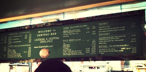 Central BBQ menu