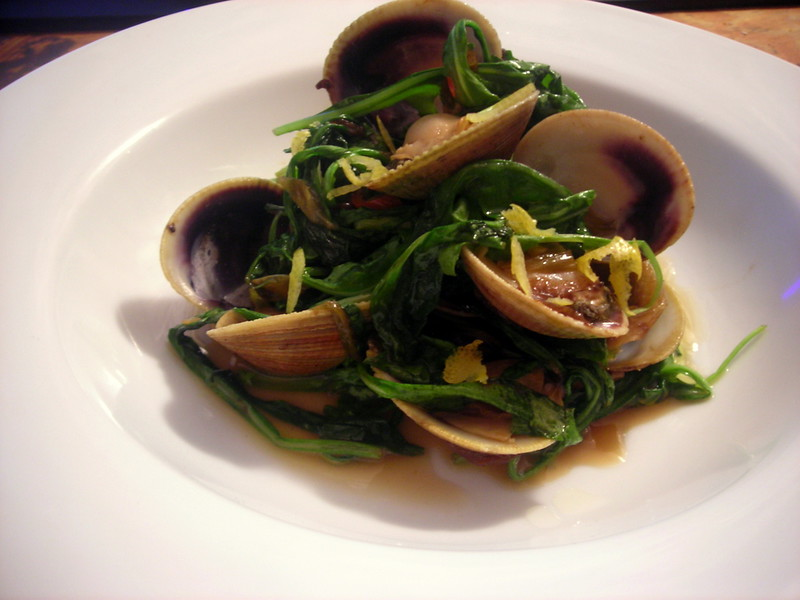 Cockles, arugula, spicy scallion broth