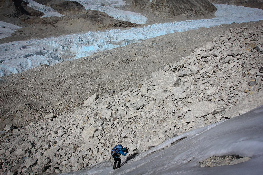 Hard work towards  Teshi Labcha (5750m). The Drolambu glacier down below.