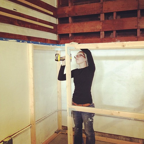 Lindsay Zuelich of Wood Brain, building in our storage area