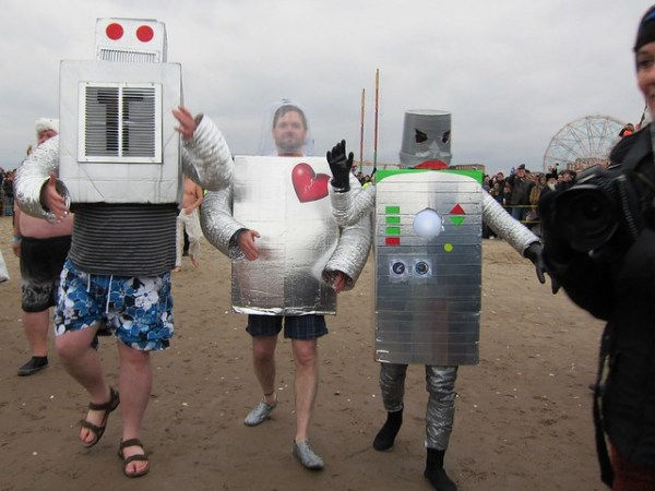 Coney Island Polar Bear Club New Year's Day Swim 2013: Robots