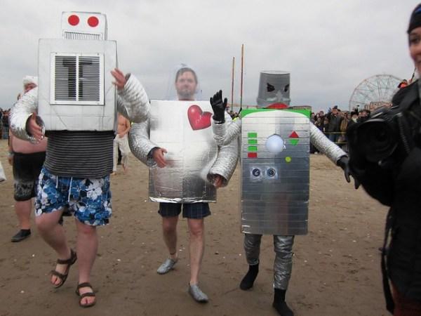 Coney Island Polar Bear Club New Year's Day Swim 2013: Robots