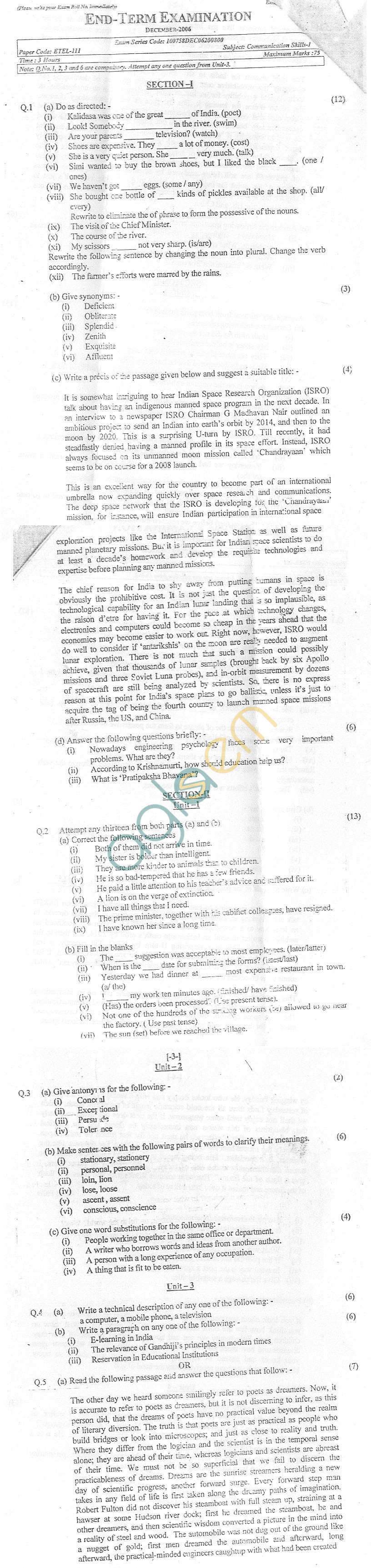 GGSIPU: Question Papers First Semester – End Term 2006 – ETEL-111