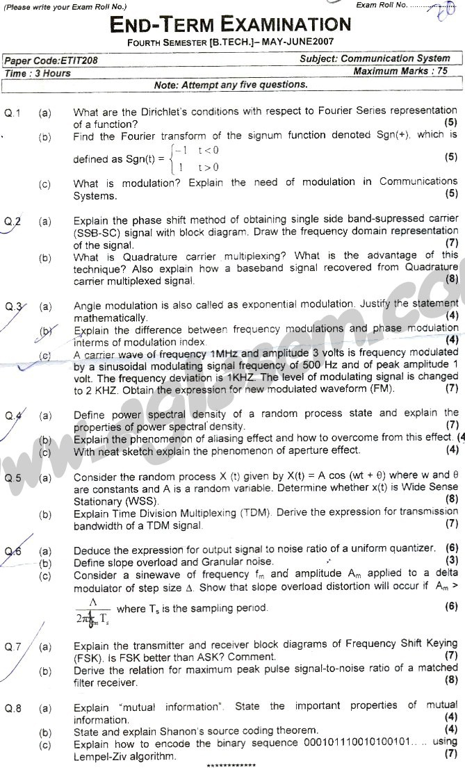 GGSIPU Question Papers Fourth Semester – end Term 2007 – ETIT_208