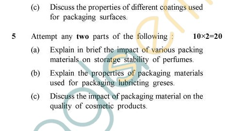 UPTU B.Tech Question Papers - OT-012 - Packaging of Oils, Fats & Allied Products