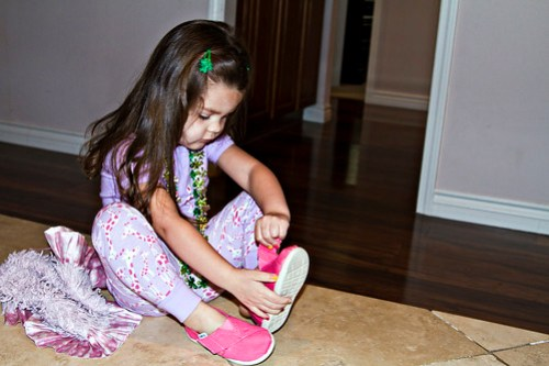 putting on her new shoes