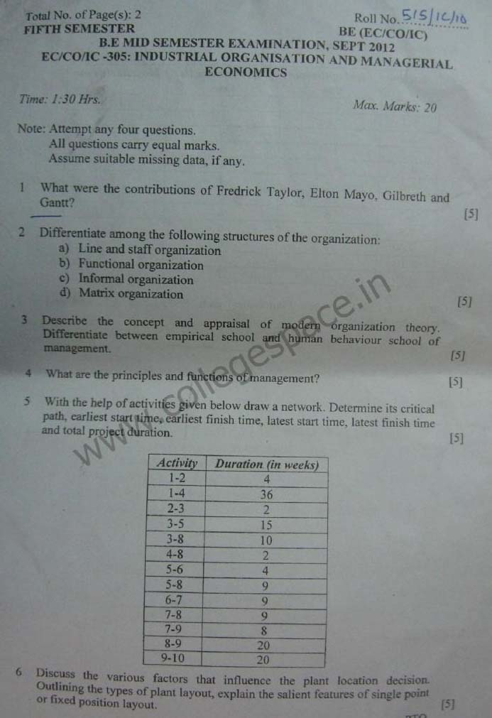 NSIT Question Papers 2012 – 5 Semester - Mid Sem - EC-CO-IC-305