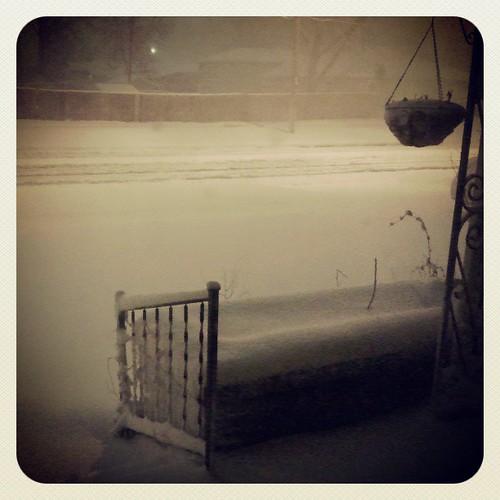 Snowy night in Wichita 3am #spring #snow #winter #wichita #windy by chauntelensey
