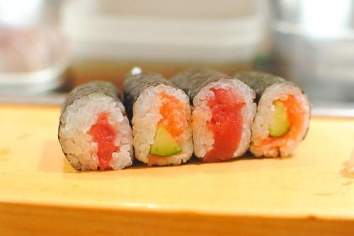 Tuna and Cucumber with Cod Roe Maki Rolls