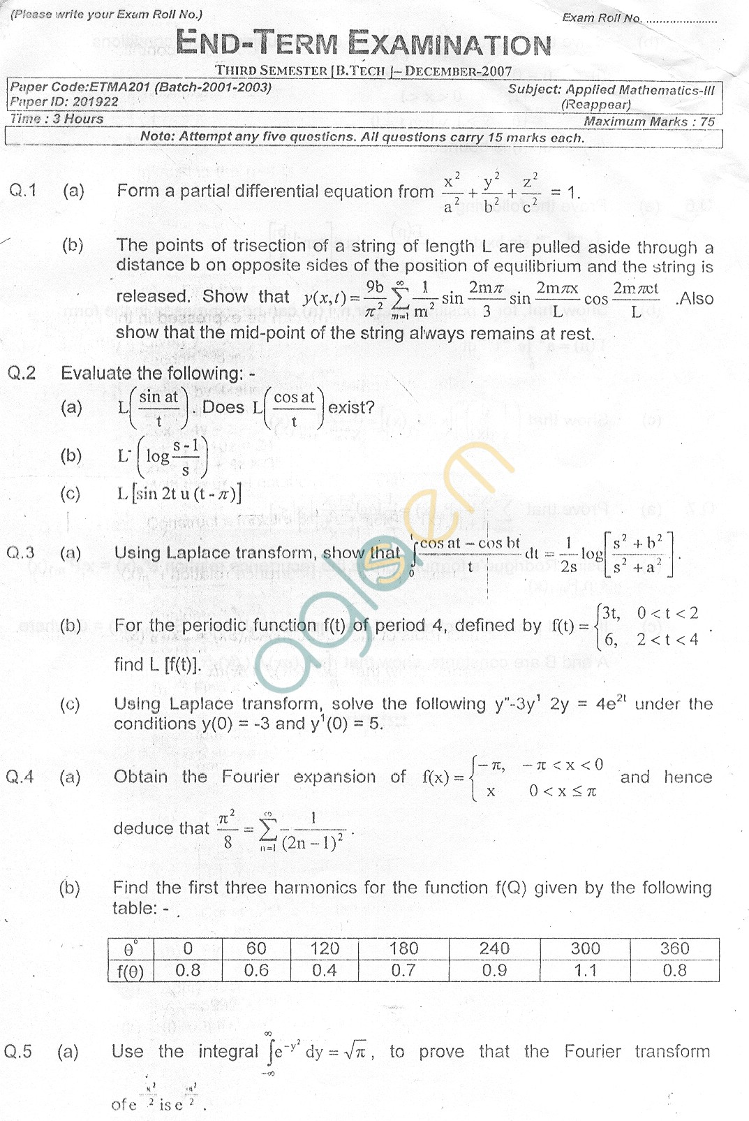 GGSIPU Question Papers Third Semester – End Term 2007 – ETMA-201