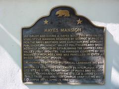 California Historical Landmark No. 888 Hayes Mansion plaque by jawajames