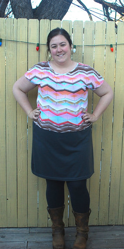 chevron shirt gray skirt front
