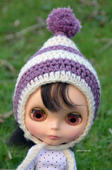 Striped Purple and Cream Pixie Hat