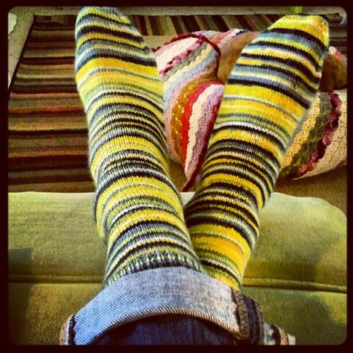 I love new socks hot off the needles!  #knitting #knitsocks #socks #stripes by chauntelensey