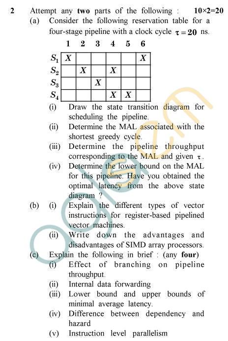 UPTU MCA Question Papers - MCA-206 - Computer Architecture & Microprocessor (Special Examination)