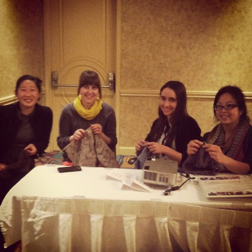 We made our own @craftcation knitting group! @caroleatsagain from @kollabora, Lauren from @creativeoutletstudios / @outlettings and @ninaevezeininger #craftcation #makers2013 #knitting #knit #yarn