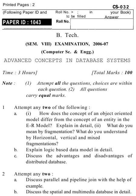 UPTU B.Tech Question Papers -CS-032- Computer Science & Engineering