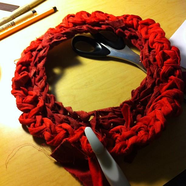 Infinity vest? Or frogger? #ragrug #red #crochet