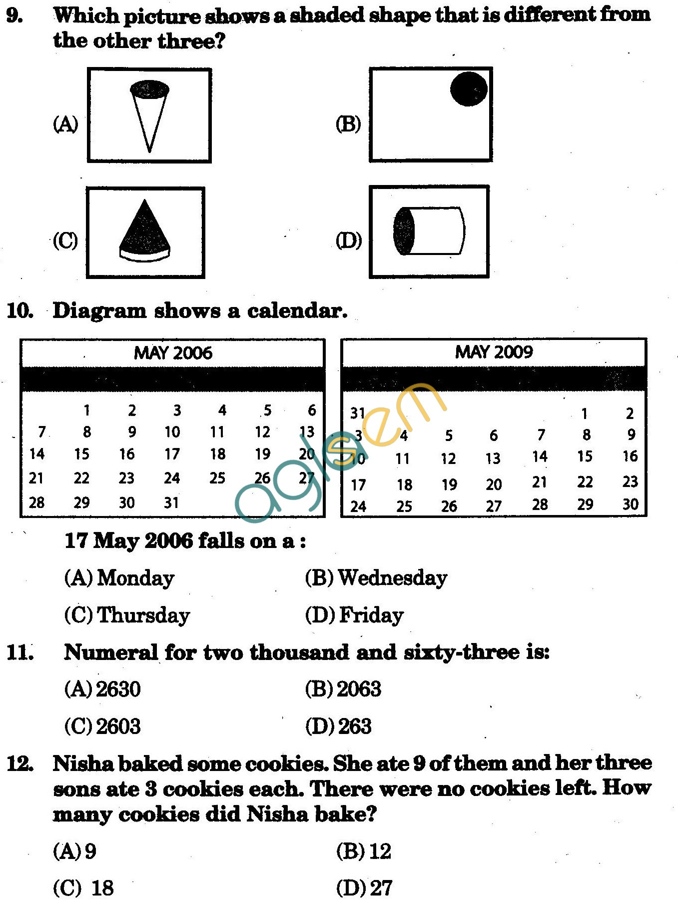 NSTSE 2010 Solved Question Paper for Class III