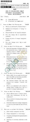 UPTU MBR Question Papers - MRD-401-Strategic Management for Rural Development