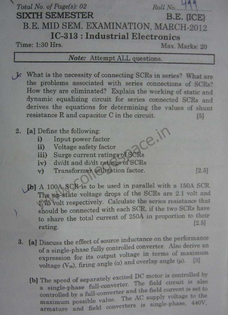 NSIT: Question Papers 2012 – 6 Semester – Mid Sem