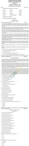 CBSE Board Exam 2013 Sample Papers (SA2) Class X - English Language & Litreature