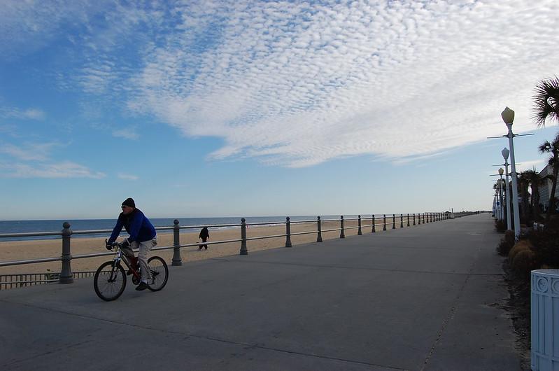 One Lone Biker on the boardwalk
