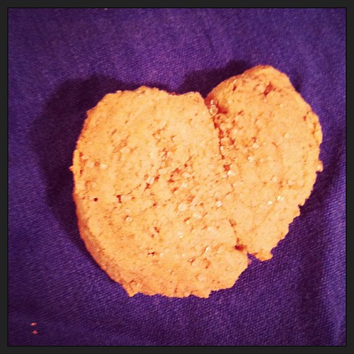 Elliott has been bugging me to post a picture of this heart-shaped cookie since yesterday.