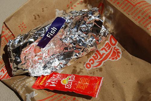 Del Taco Fish wrapped