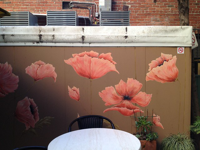 Pink poppies mural