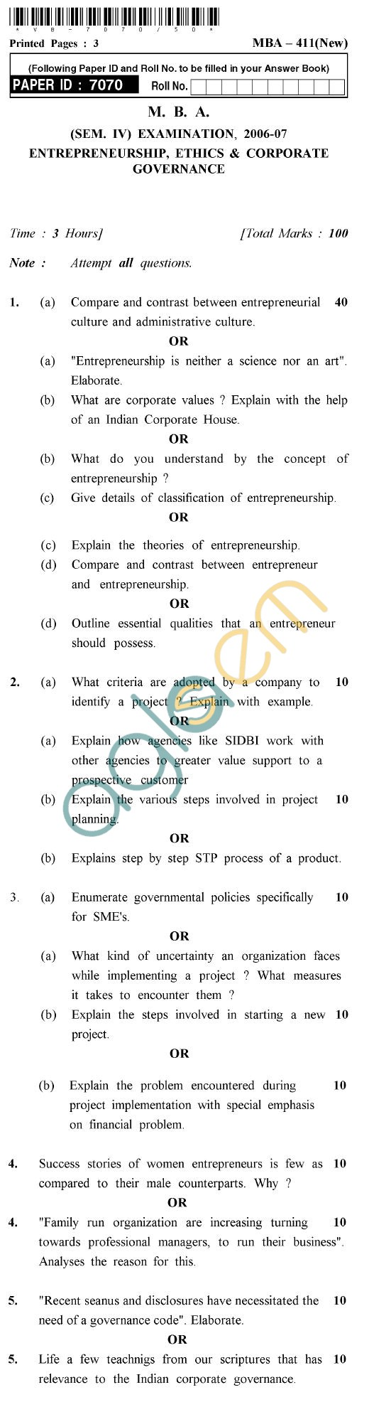 UPTU M.B.A. Question Papers - MBA-411 (New)-Entrepreneurship, Ethics & Corporate Governance