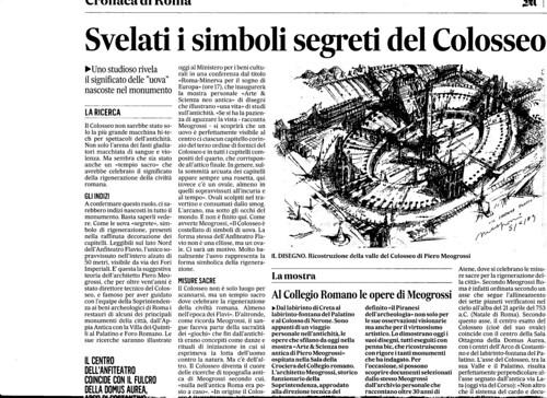 ROMA ARCHEOLOGIA E BENI CULTURALI: Prof. Arch. Piero - Svelati i simboli segrati del Colosseo, IL MESSAGGERO (18/03/2013), p. 1 & 57. by Martin G. Conde