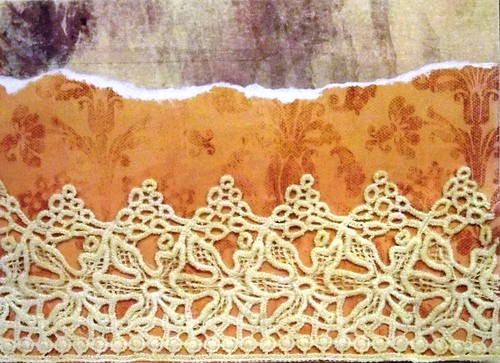 Handmade card: Lace on paper (Front)
